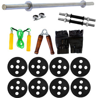 Fitfly Versatile Home Gym Set With 50Kg Rubber Plates(Sh)+5Ft Plain Rod++Gym Accessories