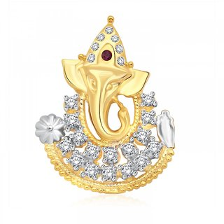 Classic Ganaraj CZ Gold and Rhodium Plated Pendant CJ1022PG
