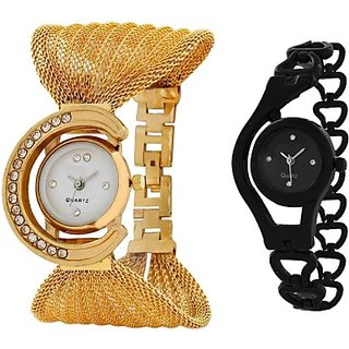 TRUE COLORS COMBO OFFER GOLD  BLACK FANCY GIFT FOR SPECIAL Analog Watch - For Girls, Women