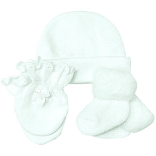 Playette White Cap Mitten  Sock Set