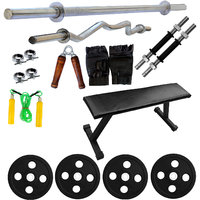 Fitfly Flat Bench(Black) With Versatile Home Gym Set With 50 Kg Plates (Sh)+5Ft Plain Rod+3Ft Curl Rod+Gym Accessories