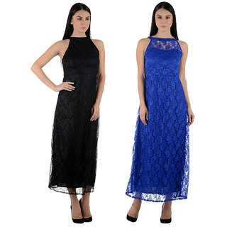 LaVilla Gorgeous Black And Blue Floral Net Long Dress