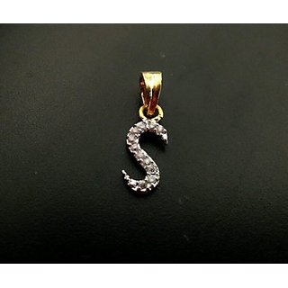 One Gram Gold Plated S Shaped Locket Pendant Cubic Zirconia Diamond