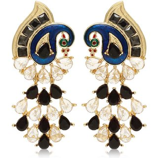 Jewels Galaxy Premium Collection Black Mayur Hangings Earrings