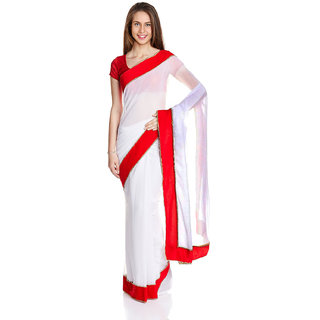 Parchayee White Georgette Plain Saree Without Blouse