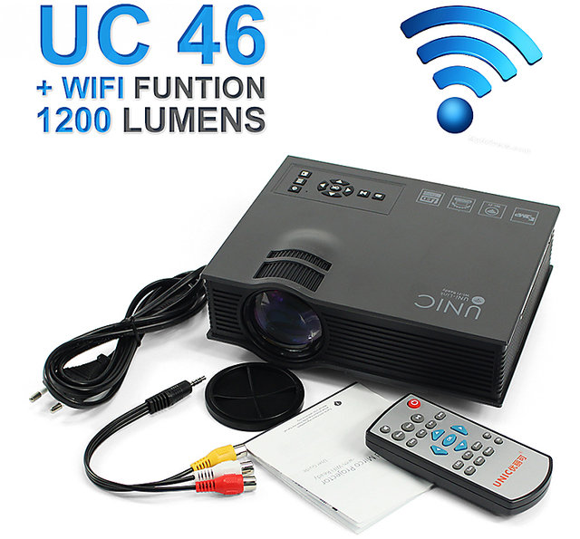 7fff329c279cd4 Buy Unic UC46 Wireless WIFI Mini Portable Projector 1200 Lumen 800 x 480  Full HD LED Online - Get 29% Off