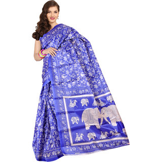 Parchayee Blue Silk Printed Saree Without Blouse
