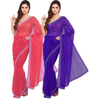 Iraya Red And Blue Lycra Solid Saree (Combo of 2)