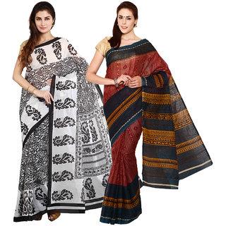 Iraya Brown And Black Poly Cotton Printed Saree (Pack of 2)