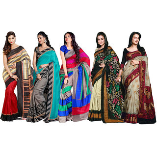 Parchayee Multicolor Silk, Art Silk Printed Saree Without Blouse (Combo of 5)