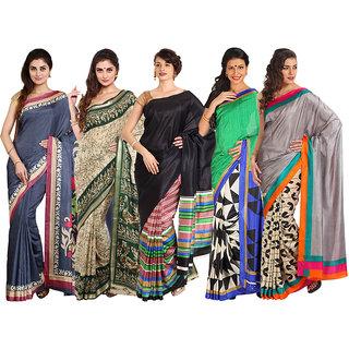 Iraya Multicolor Raw Silk Printed Saree (Pack of 5)
