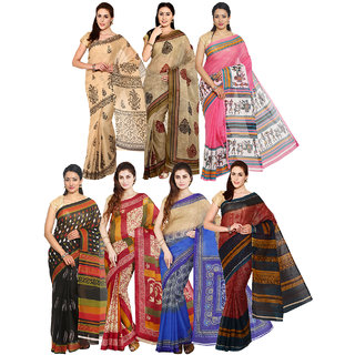 Iraya Multicolor Poly Cotton Printed Saree (Combo of 7)