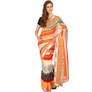 Parchayee Orange Chiffon Printed Saree With Blouse