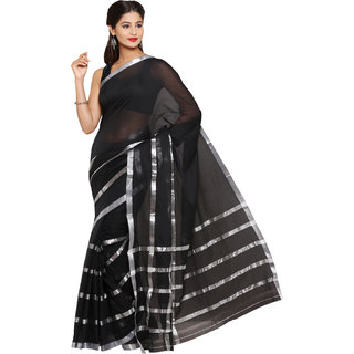 Parchayee Black Cotton Striped Saree Without Blouse