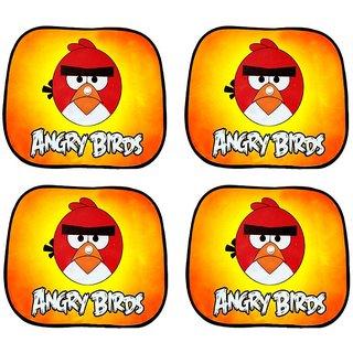Hi Art Multicoloured Angry Birds Print Car Window Sun Shade For Honda Mobilio - Set Of 4