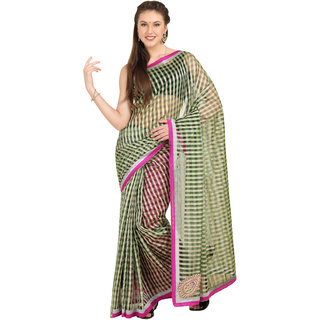 Parchayee Green Net Checks Saree Without Blouse