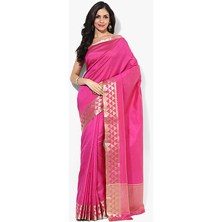 Parchayee Pink Silk Plain Saree Without Blouse