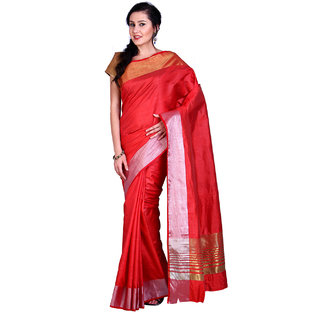Parchayee Red Silk Plain Saree Without Blouse