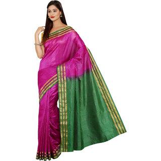 Parchayee Purple Silk Plain Saree Without Blouse