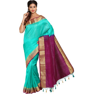 Parchayee Green Silk Plain Saree Without Blouse