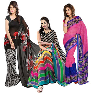 Iraya Multicolor Georgette Printed Saree (Combo of 3)