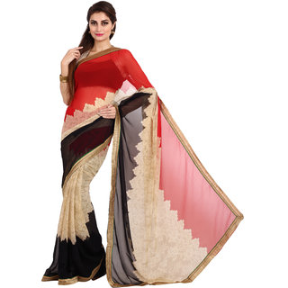Parchayee Beige Chiffon Printed Saree Without Blouse