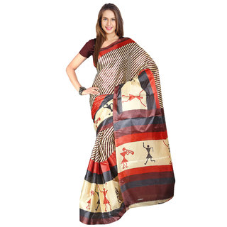 Parchayee Brown Silk Printed Saree Without Blouse