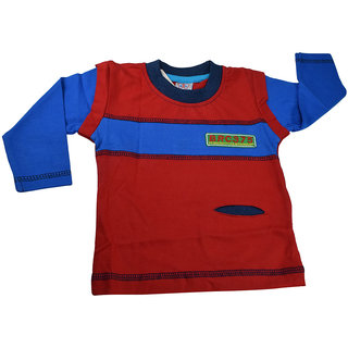 Mama  Bebes Infant Wear - Boys Full Sleeve T Shirt ,Red mbbft72red6-12