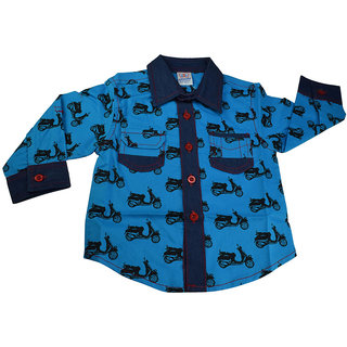 Mama  Bebes Infant Wear - Boys Full Sleeve Shirt,Blue mbbsh75blue6-12