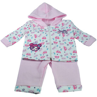 Mama  Bebes Infant Wear - Infant pant cum hooded shirt set,Pink mb21ltpink6-12