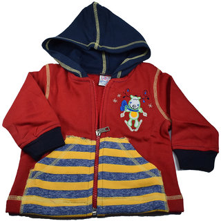Mama  Bebes Infant Wear - Infant Hooded Full Sleeve Shirt,Red mbbss51red1-2