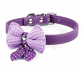 Futaba Bowknot Adjustable Leather Puppy Pet Collars Necklace - Purple
