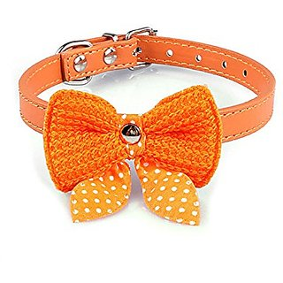Futaba Knit Bowknot Adjustable Leather Pet Collars Necklace - Orange