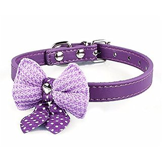 Futaba Bowknot Adjustable Leather Puppy Pet Collars Necklace - Purple
