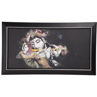 GATTS Pleasant Radhaa Krishna Playing Flute Peacock Wall Decorative  Washable Wall Painting with Wooden Frame(27x15.5x0.5 Inch)