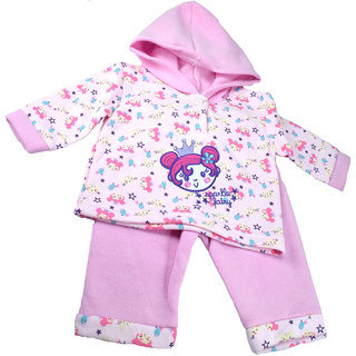 Mama  Bebes Infant Wear - Infant pant cum hooded shirt set,Pink mb22ltpink12-18
