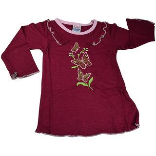 Mama  Bebes Infant Wear - Girls Full Sleeves Top,Maroon mbgft57maroon3-4