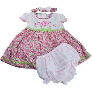 Mama  Bebes Infant Wear - Infant / Girls Frock Set,Pink mbTH629drkpink0-6