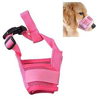 Futaba Dog Adjustable Anti Bark Mesh Soft Mouth Muzzle -Pink - Large