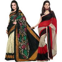 Iraya Beige Art Silk And Chiffon Printed Saree (Combo of 2)