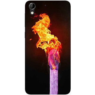 Casotec Lit Matchstick Design Hard Back Case Cover for HTC Desire 728G
