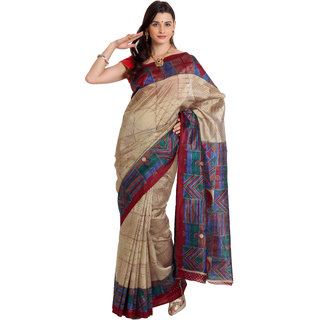 Parchayee Beige Silk Printed Saree With Blouse