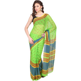 Parchayee Green Chiffon Printed Saree Without Blouse
