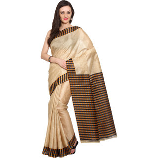 Parchayee Beige Silk Printed Saree Without Blouse