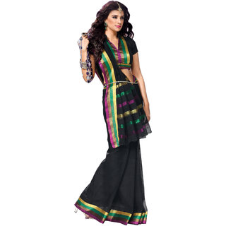 Iraya Black Cotton Solid Saree