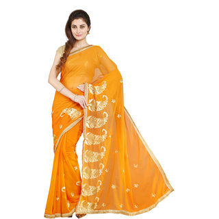 Parchayee Orange Chiffon Embroidered Saree Without Blouse