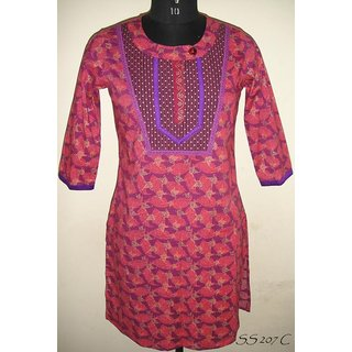 Mayur Collections Pink coloured kurti with round nectk