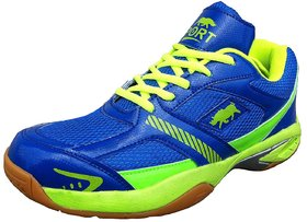Port Pynther Women Blue Pu Badminton Sports Shoes