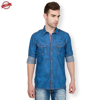 The Indian Garage Co. Mens Blue Slim Fit Casual Shirt