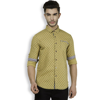 The Indian Garage Co. Mens Green Slim Fit Casual Shirt